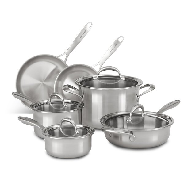 10 Piece 5 Ply Stainless Steel Cookware Set by KitchenAid