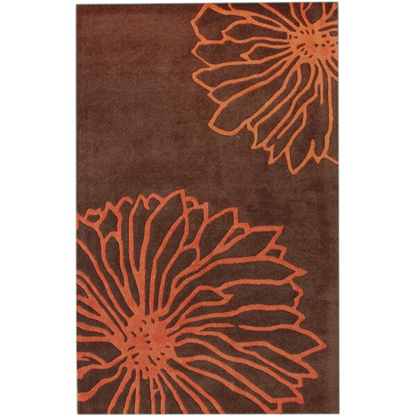 Gradient Floralina Hand-Tufted Wool Orange Area Rug by nuLOOM