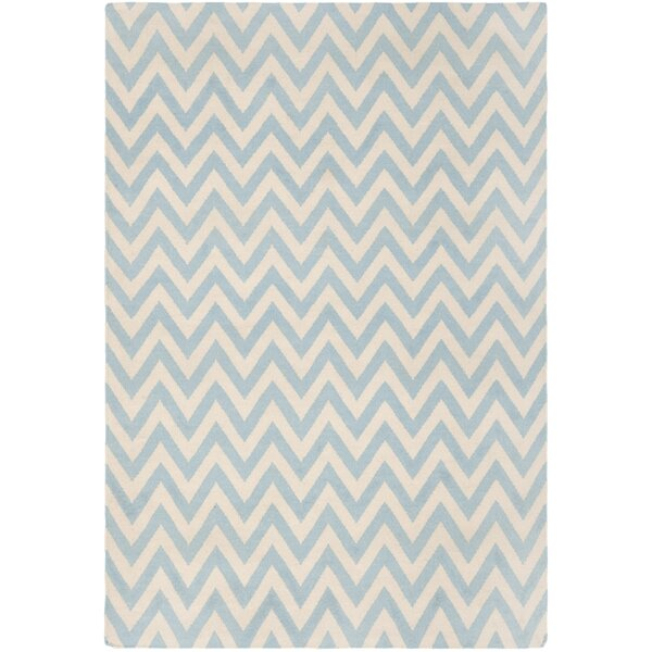 Dhurries Hand-Woven Wool Blue/Ivory Area Rug by Sa