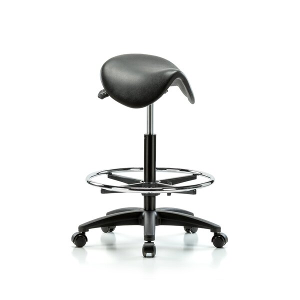 Height Adjustable Saddle Stool with Foot Ring
