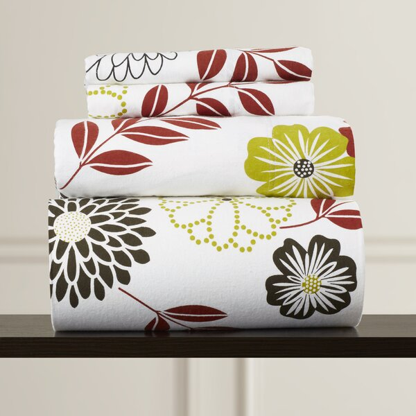 Doody Floral Printed Extra Deep Pocket Flannel Sheet Set by Charlton Home