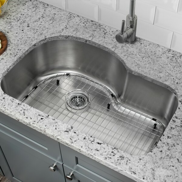 32 L x 21 W Undermount Kitchen Sink with Grid Set and Drain Assembly