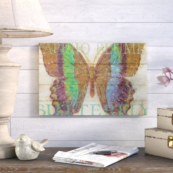 Butterfly Wood Series III Graphic Art on Wrapped Canvas by August Grove