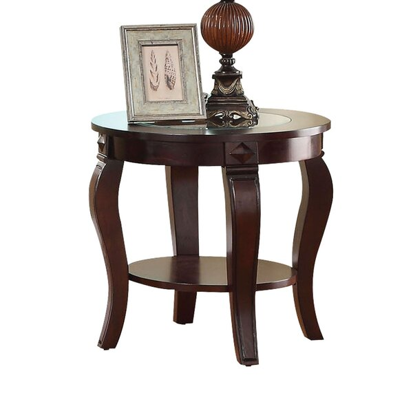 Torrez Glass Insert Top Round Wooden End Table by Fleur De Lis Living