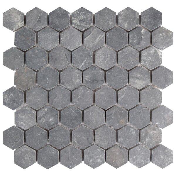 Peak 1.5 x 1.63 Natural Stone Mosaic Tile in Black by EliteTile