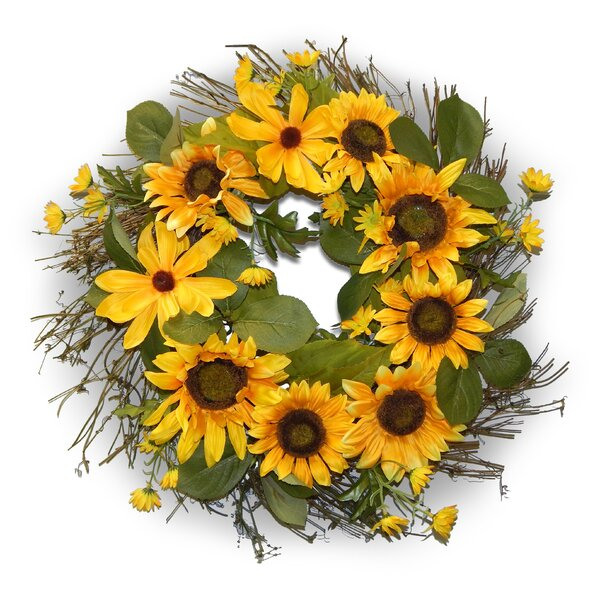 24 Sunflower Lotus Pod with Protea Wreath by August Grove