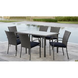 Edwards 7 Piece Dining Set with Cushion By Highland Dunes