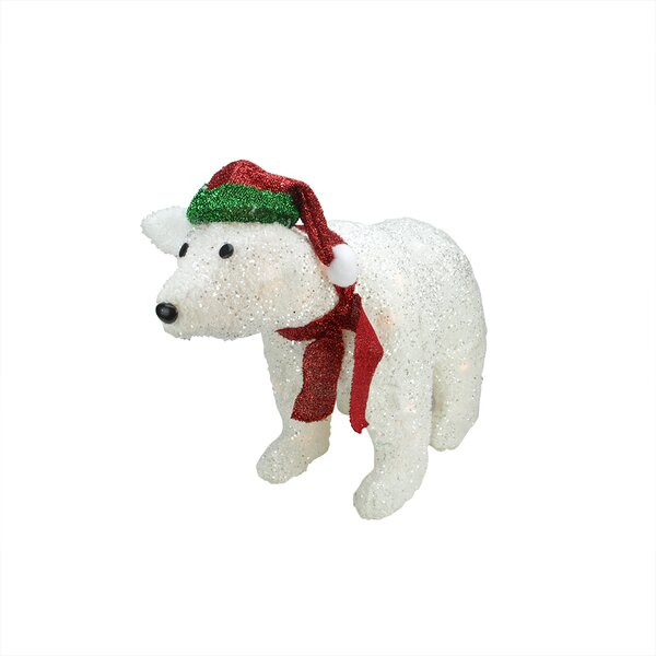 White Plush Glittered Polar Bear Christmas Decoration by Northlight Seasonal