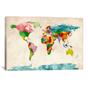 'World Map Watercolors III' Graphic Art Print by East Urban Home
