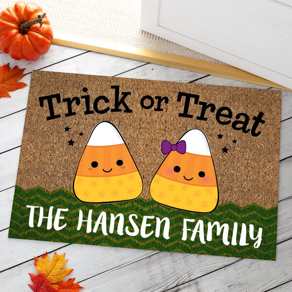 Candy Corn Family Personalized Doormat by CPS