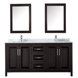 Daria 72 Double Bathroom Vanity Set with Mirror byWyndham Collection