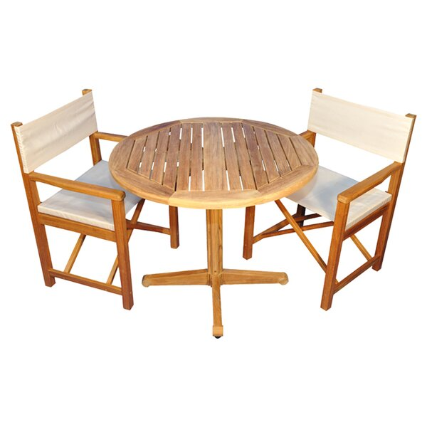 Oxford 3 Piece Teak Dining Set with Sunbrella Cushions by Regal Teak