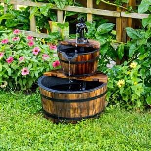 Wood 2 Tier Water Barrel Fountain