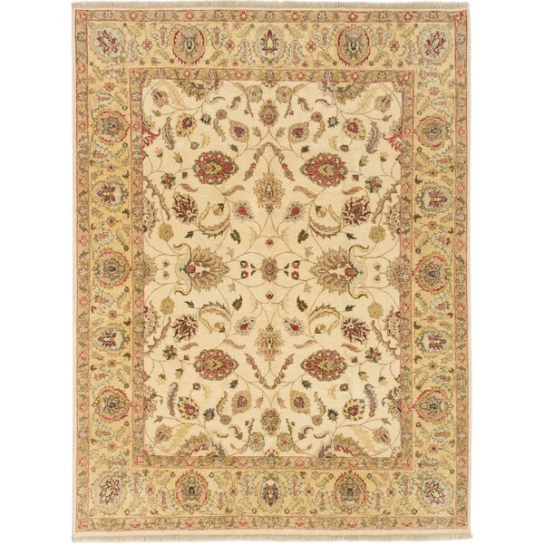 Chobi Twisted Hand-Knotted Wool Cream Area Rug by ECARPETGALLERY