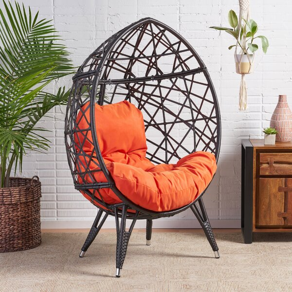 Borman Wicker Teardrop Swing Chair by Bloomsbury Market Bloomsbury Market