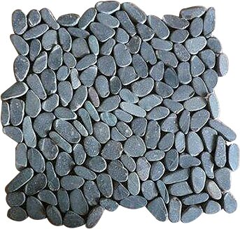 Rocha Random Sized Natural Stone Pebble Tile in Matte Black by Mulia Tile