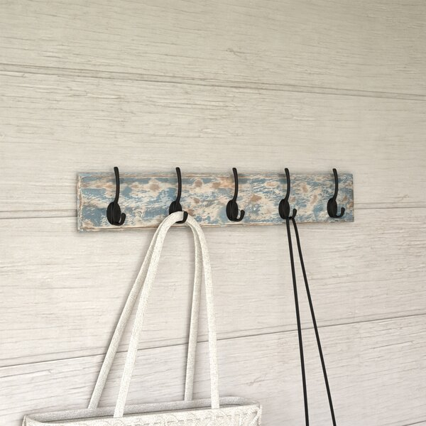 Peterborough Blue Metal and Wood Coat Rack by Beachcrest Home
