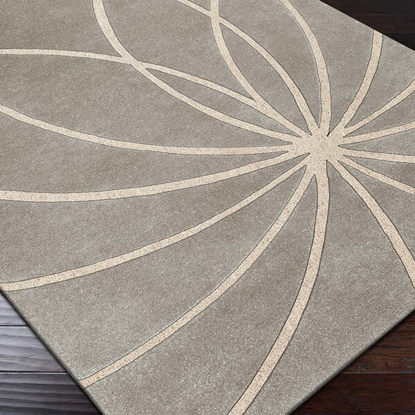 Dewald Hand Woven Wool Gray/Cream Area Rug by Ebern Designs