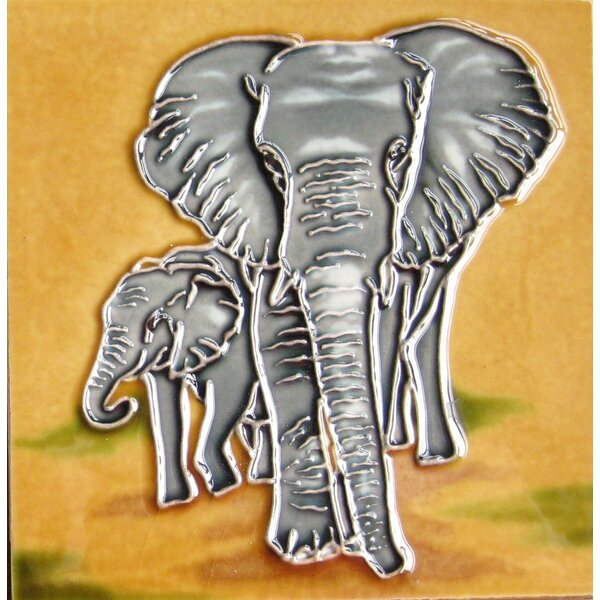 4 x 4 Ceramic Two Elephants Decorative Mural Tile by Continental Art Center