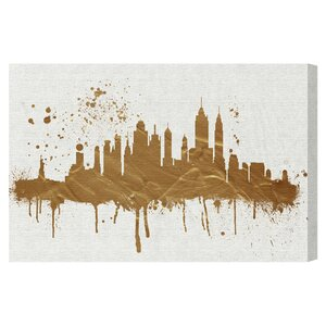 'Gold NY Skyline' Graphic Art Print on Canvas by Oliver Gal