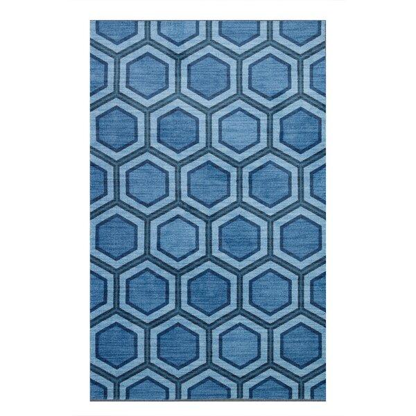 Honeycomb Blue Area Rug by Brayden Studio