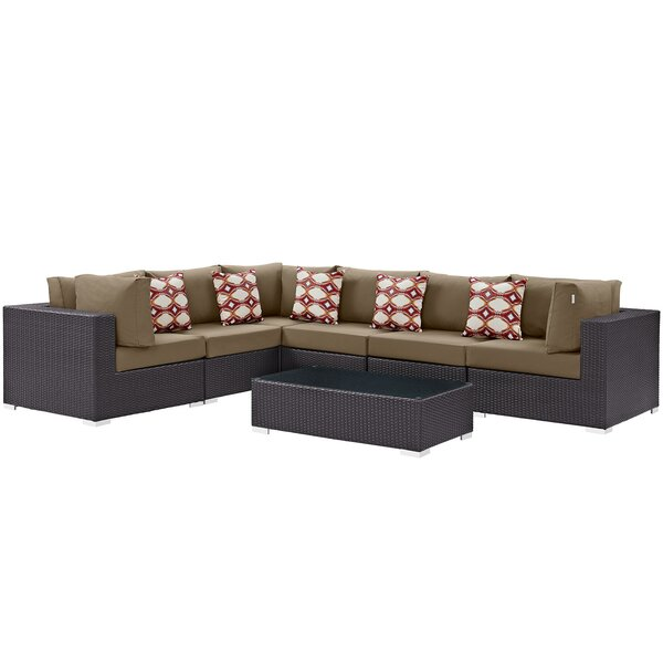 Brentwood 7 Piece Rattan Sectional Seating Group with Cushions by Sol 72 Outdoor