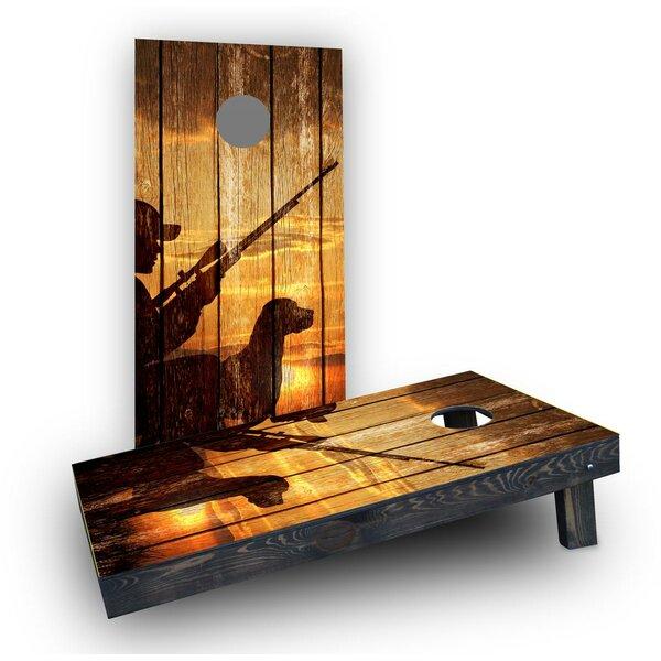 Sunrise Hunters With Wood Slat Background Cornhole Boards (Set of 2) by Custom Cornhole Boards