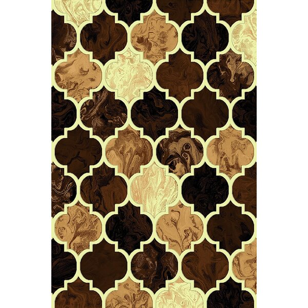 Cosper Brown/Gold Area Rug by Ebern Designs
