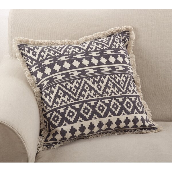 Peters Aztec Tribal Fringe Border Cotton Throw Pillow by Union Rustic