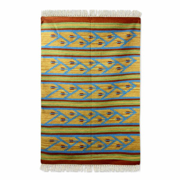 Hand-Loomed Blue/Yellow Area Rug by Novica
