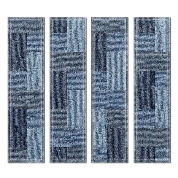 Custom 3 x 12 Beveled Glass Subway Tile in Blue/Gray by Upscale Designs by EMA