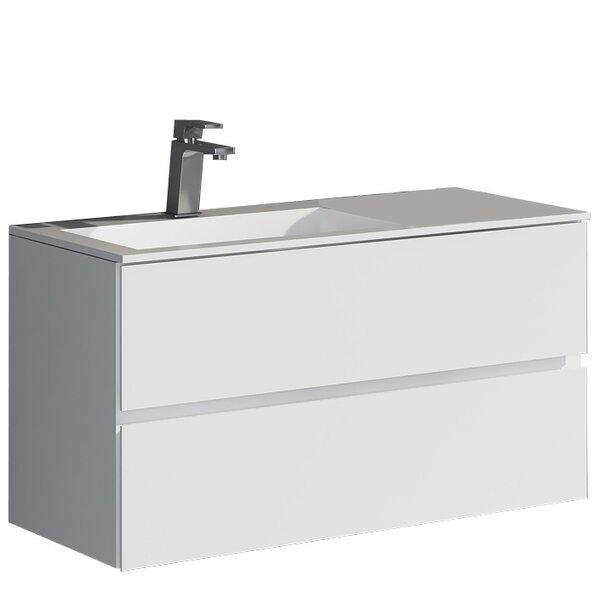 Werner 35.43 True Solid Surface Single Sink Vanity Set with Cabinet by dCOR designWerner 35.43 True Solid Surface Single Sink Vanity Set with Cabinet by dCOR design