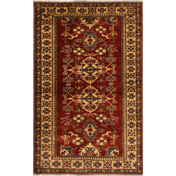One-of-a-Kind Holden Super Kazak Hand-Knotted Wool Rust/Light Gold Area Rug by Astoria Grand