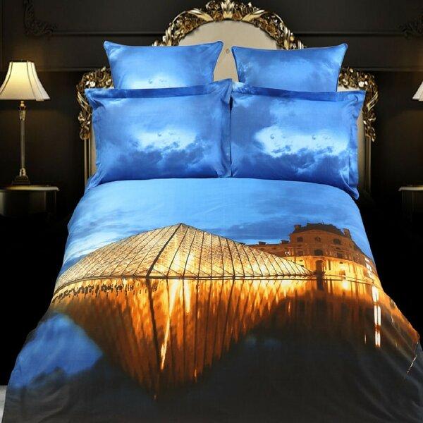 Louvre Paris Cotton 6 Pieces Reversible Duvet Cover Set