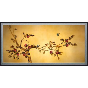 'Birds on Plum Tree' Framed Painting Print by World Menagerie