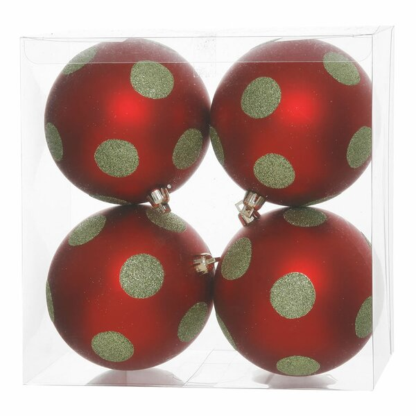 Polka Dot Glitter Ball Ornament (Set of 4) by The Holiday Aisle