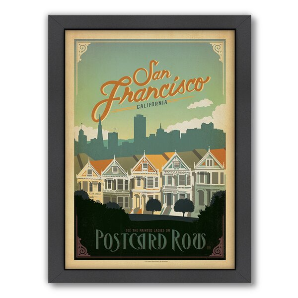 San Francisco Postcard Row Framed Vintage Advertisement by East Urban Home