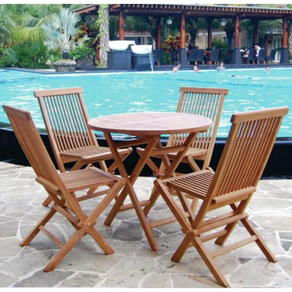 Shadah 5 Piece Teak Dining Set by World Menagerie