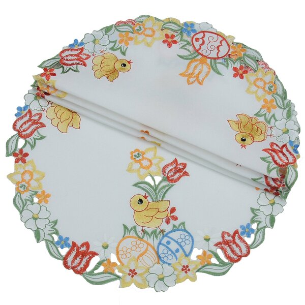 Spring Chicks Round Doily (Set of 4) by Xia Home Fashions