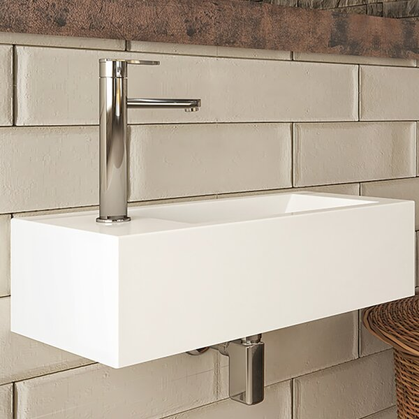 Eleni Classically Redefined Vitreous China Rectangular Wall Mount Bathroom Sink with Overflow by DECOLAV