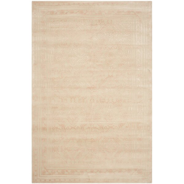 Exmouth Hand-Knotted Cream/Pink Area Rug by House of Hampton