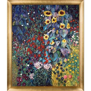 Farm Garden with Sunflowers by Gustav Klimt Framed Painting by Tori Home