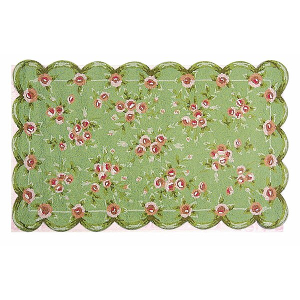 Hand-Hooked Green/Pink Area Rug by The Conestoga Trading Co.