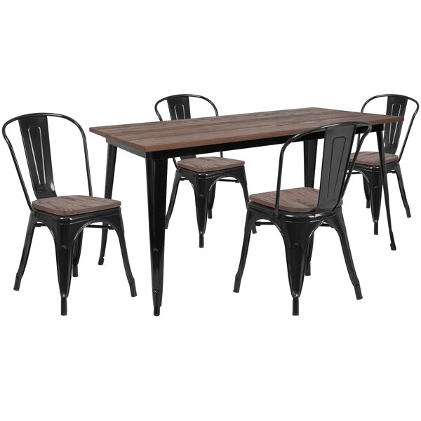 Pridgen 5 Piece Solid Wood Dining Set by Williston Forge Williston Forge