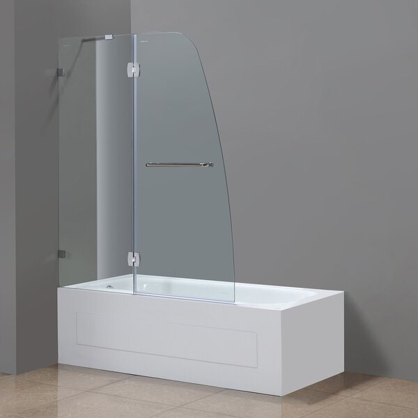 Soleil 48 x 58 Hinged Completely Frameless Tub-Height Shower Door by Aston
