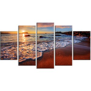 'Stunning Ocean Beach at Sunset' 5 Piece Photographic Print on Wrapped Canvas Set by Design Art