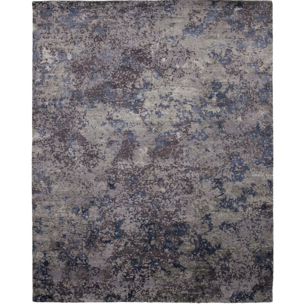 La Vista Hand-Knotted Gray/Blue Area Rug by Shalom Brothers
