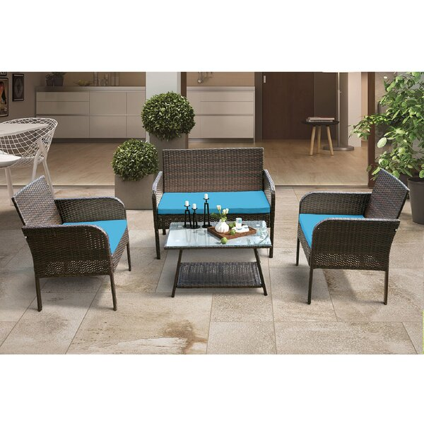 Adolphine 4 Piece Rattan Seating Group With Cushions by Latitude Run
