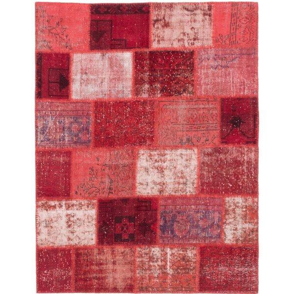 One-of-a-Kind Lecia Handmade Wool Dark Burgundy/Dark Red Area Rug by Bloomsbury Market