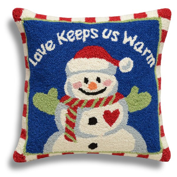 Snowman/Love Keeps Us Warm Wool Throw Pillow by 123 Creations